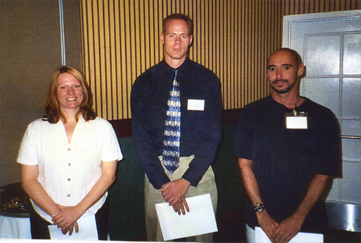 Winners of the MS-level student paper contest (left to right), Linda NcHerne (3rd), Daniel Frank (2nd), Scott Weihman (1st)