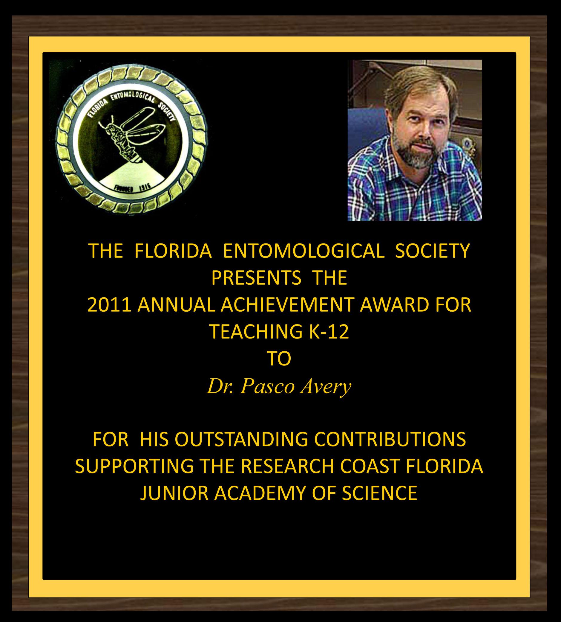 Pasco Avery receives 2011 FES K12 Award