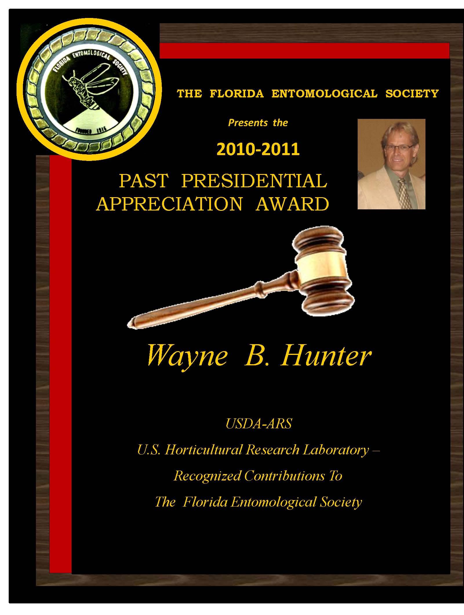 Wayne Hunter Past President Award