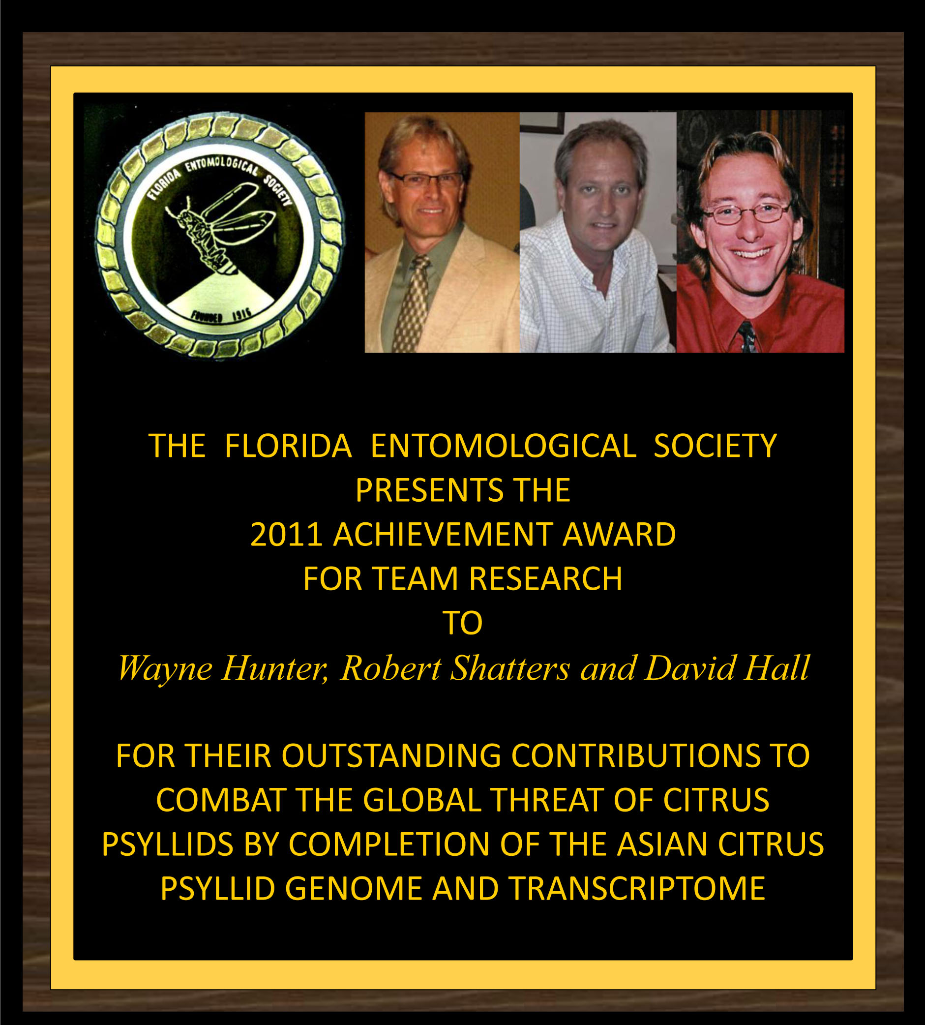 Hunter et al. receive Achevement Award for Research Teams