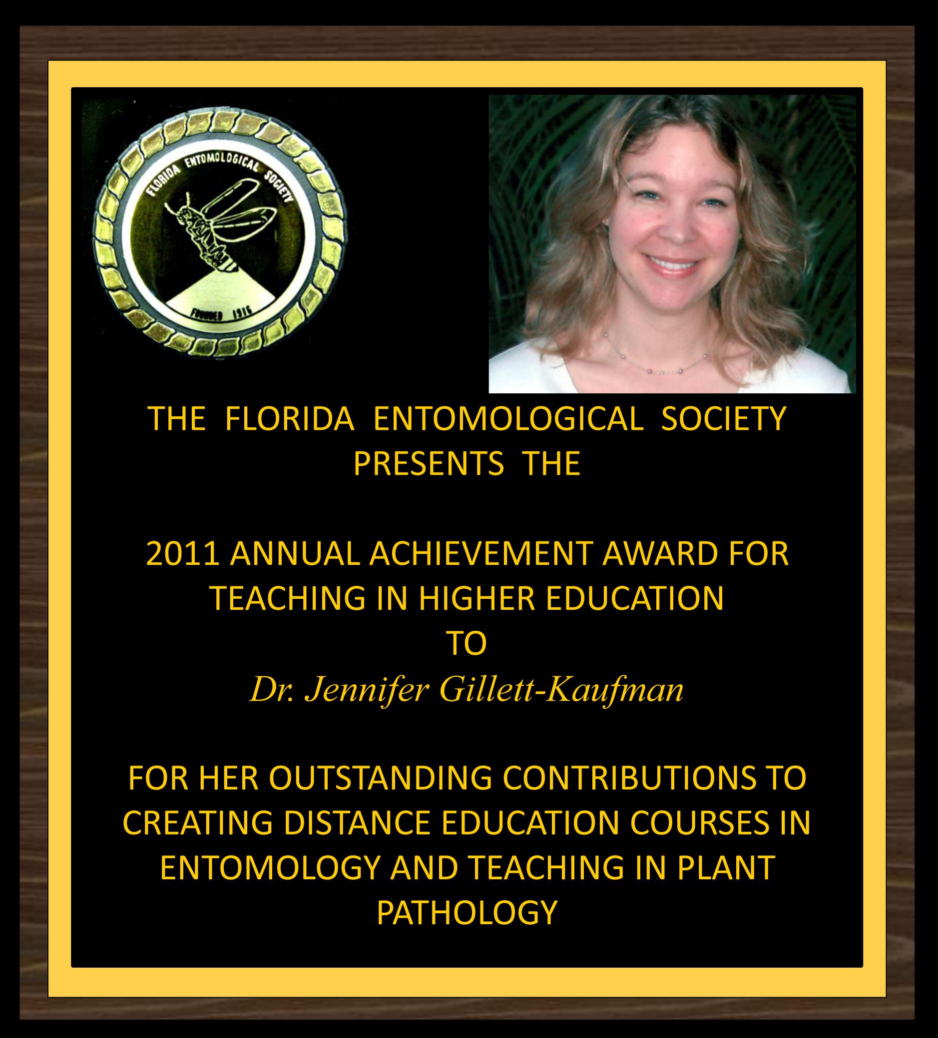 Jennifer Gilett-Kaufman receives the 2011 FES Award for Teaching in Higher Education