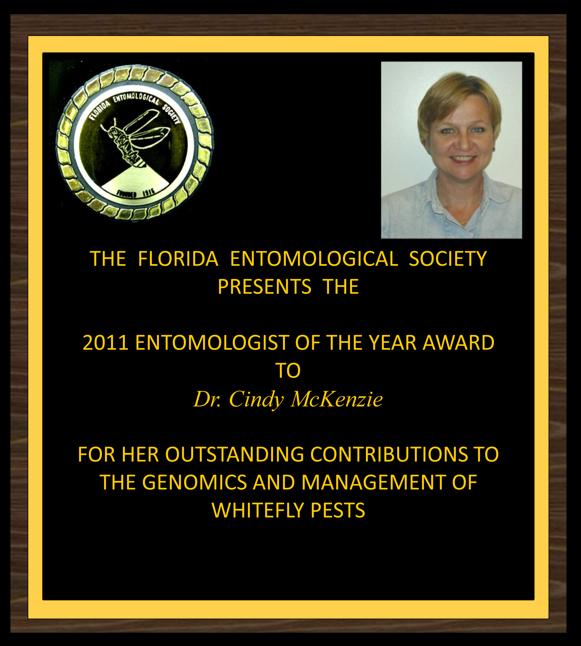 Cindy McKenzie wins 2011 FES Entomologist of the year award Award