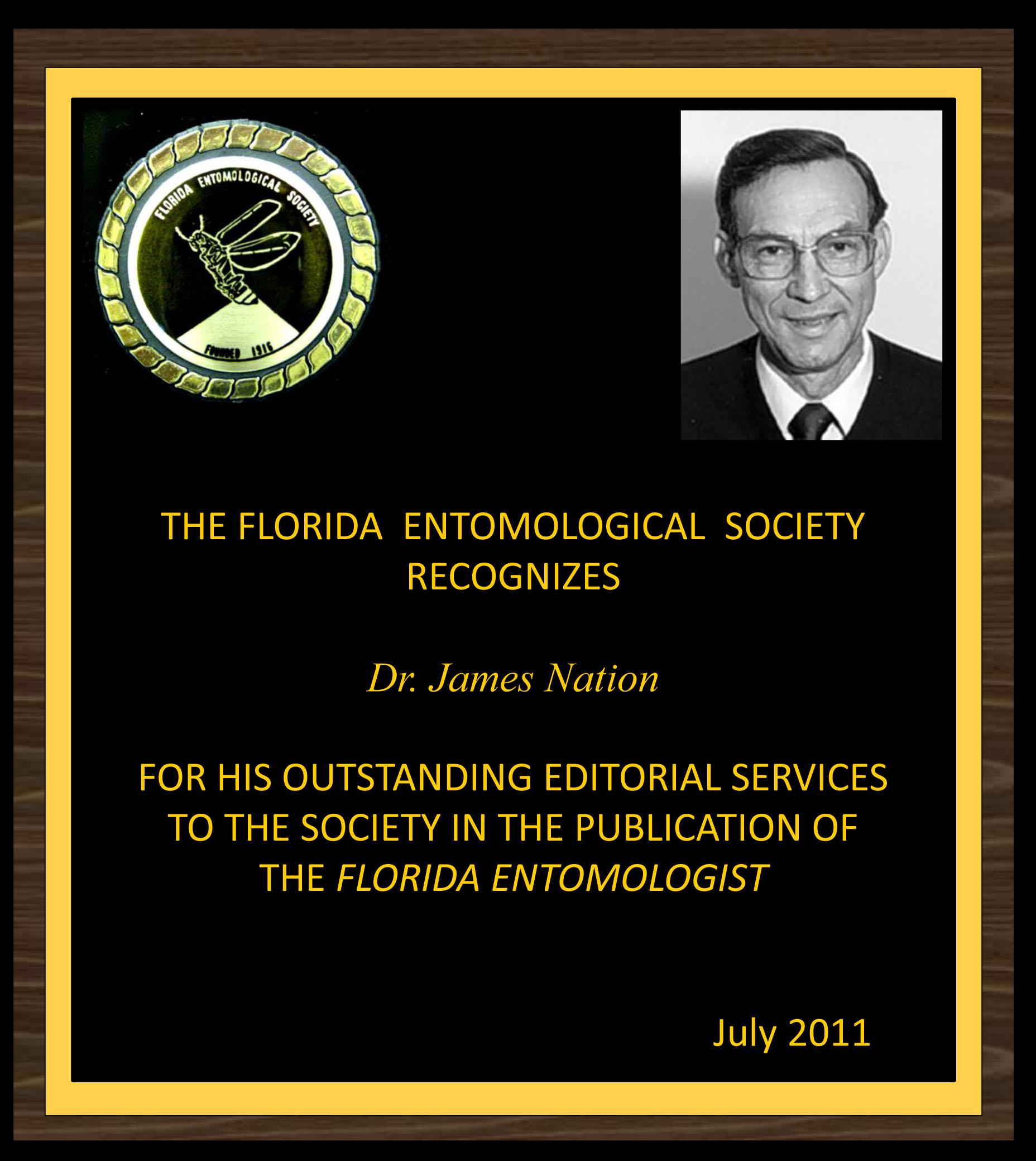 Jim Nation receives award for service as Florida Entomologist editor