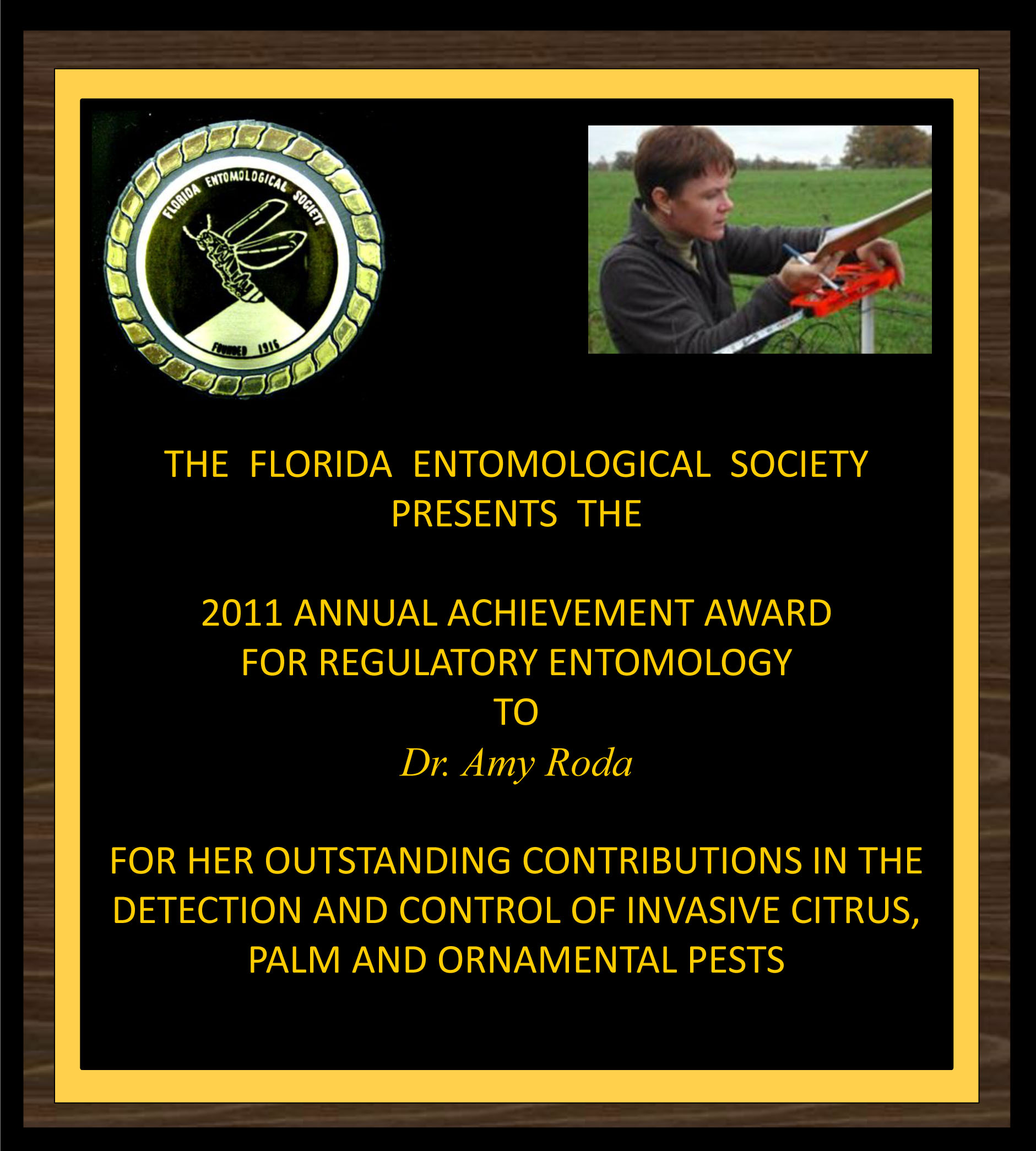 Amy Roda receives 2011 FES Achievement Award for Regulatory Entomology