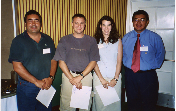 Marco Toapanta, Student Activities Committee Chair (right), with FES $500 scholarship winners (left to rignt), Rui Pereira, Matt Aubuchon, Katie Barbara