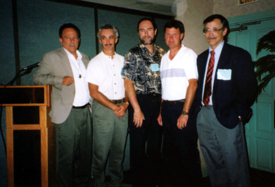 Participants in the biocontrol symposium: Phil Stansly, J. P. Michaud (organizer), Russ Mizell, Joe Funderburk, and Roy Van Driesche